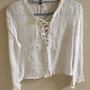 Lace Up White Long Sleeve Top with Bell Sleeves
